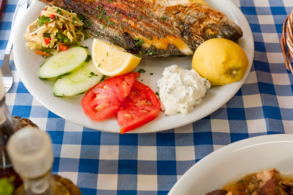 plakias bay fish and potatoes